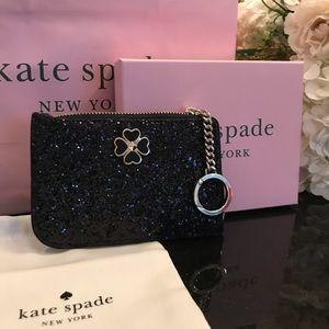 Kate Spade ♠️ Black Med Card Holder Odette Glitter